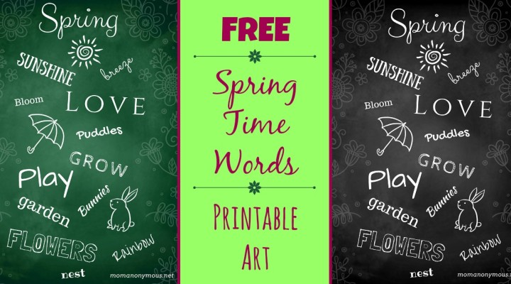 """Free """"Spring Time Words"""" Printable – Makes Cute Wall Art!"""