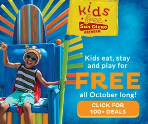 Kids Go FREE to San Diego!  Fall Break October 1-31!